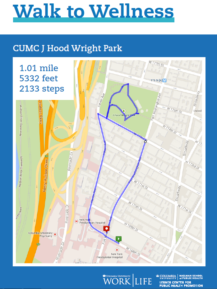 CUMC walking map hudson greenway