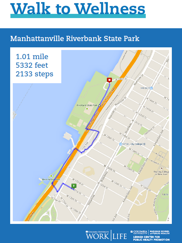 manhattanville walking map riverbank state park